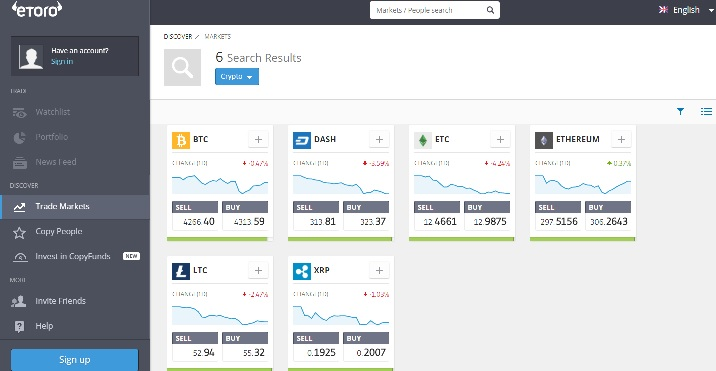 eToro platform for crypto trading